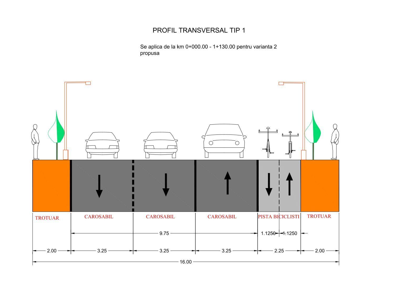 varianta cu 3 benzi de circulație și pistă biciclete